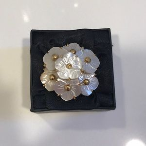 Kate Spade Mother of Pearl Flower Cocktail Ring